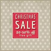 Beige christmas background and  label with sale offer, vector — ストックベクタ