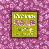 Christmas background and  sale offer label, vector — Stock vektor