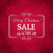Red christmas background and sale offer, vector — Wektor stockowy