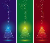 Three christmas pine and snowflakes on the color  background, vector — Stock Vector