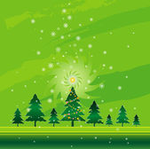 Green Christmas card with forest of tree,  vector illustration — Stock Vector