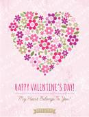 Roze achtergrond met valentijn hart van lentebloemen, vector — Stockvector