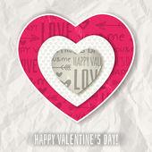 Sfondo con testo di cuore e auguri di San Valentino Rossi, vettoriale — Vettoriale Stock