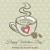 Romantic card with cup of hot drink and wishes text,  vector  — Stockvector