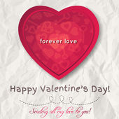 Background with  red valentine heart and wishes text,  vector — Stock Vector
