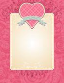 可愛いピンクのハート グレーのリボン付きベクトル — ストックベクタ