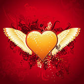 Lovely golden heart on red background with wings, vector — Vettoriale Stock