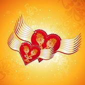 Due bella cuore rosso su sfondo dorato con le ali, vector — Vettoriale Stock
