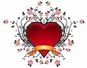Lovely red heart with many roses, vector illustration — Stockvektor