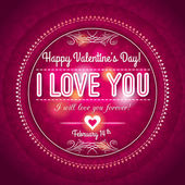 Red valentines day greeting card  with  hearts and wishes text — Stock Vector