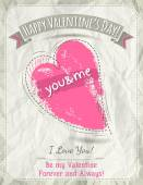 Background with  valentine heart and wishes text,  vector  — Stock vektor