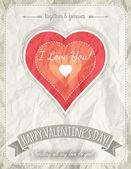Fundo com texto de coração e os desejos dos namorados vermelha, vector — Vetor de Stock