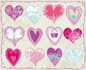 Twelve valentines heart, vector — Stock Vector