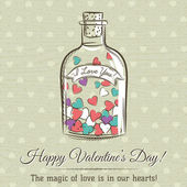 Valentine card with jar filled with hearts and wishes text,  vec — Stock Vector