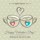 Valentine card with two cup of hot drink and wishes text,  vecto — Stock Vector