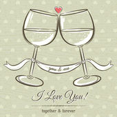 Romantic card with two glass of wine and wishes text,  vector — Stock Vector
