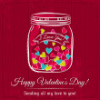 Red valentine card with jar filled with heart and wishes text, — Stock Vector #62362459