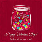 Red valentine card with jar filled with heart and wishes text,   — Stock vektor