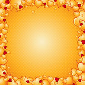 Lovely golden background of hearts, vector — 图库矢量图片