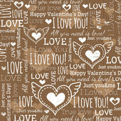Beige background with  valentine heart and wishes text — Stock Vector