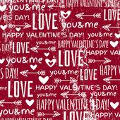 Красный фон с текстом сердца и пожелания Валентина — Cтоковый вектор