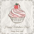 Valentine card with  strawberry cupcake ,  vector — Stock Vector #63137191