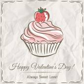 Valentine card with  strawberry cupcake ,  vector  — Stock Vector