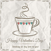 Valentine card with cup of hot drink and wishes text,  vector — Stock Vector
