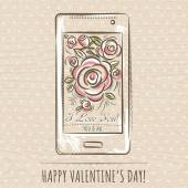 Valentine card with smartphone and roses,  vector — Stock Vector