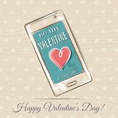 Valentine card with smart phone and red heart,  vector — Vector de stock