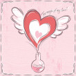 Pink valentine card with heart — Stock Vector #64322543