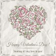 Valentine card with heart of flowers and wishes text — Stok Vektör #64322551