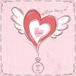 Pink valentine card with heart and engagement ring — Stock Vector #64322651