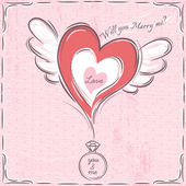 Pink valentine card with heart and engagement ring — Cтоковый вектор