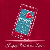 Valentine card with smartphone on red wooden background — ストックベクタ