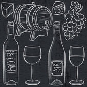 Set of glases and bottles for wine on blackboard, vector — Stock Vector