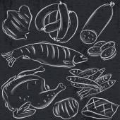 Set of different meats on blackboard , vector — Stock Vector