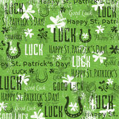Green background for Patricks day with shamrocks, vector — Stock Vector