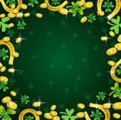 Background for Patricks Day with clover and golden coins — Stock Vector