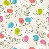 Easter Pattern, easter eggs, flower and chicks, vector — Stock Vector