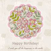 Birthday card with big round of spring flowers,  vector illustra — Stockvector