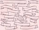 Set of ribbon over pink background, vector  — Stockvector