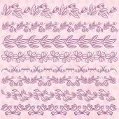 Conjunto de papel de laço com flores sobre fundo rosa, vector — Vetor de Stock