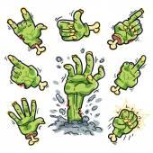 Cartoon Zombie Hands Set for Horror Design — Stock Vector