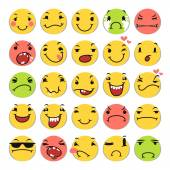 Cartoon Smile Icons Set — Stock Vector