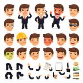 Set of Cartoon Businessman Character for Your Design — Stock Vector