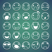 Cartoon Facial Espressions Icons Set — Vettoriale Stock