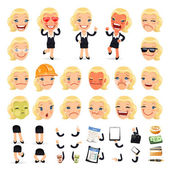 Set of Cartoon Businesswoman Character for Your Design or Aanima — Stock Vector