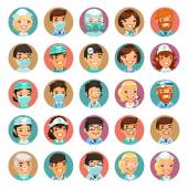 Doctors Cartoon Characters Icons Set3 — Stock Vector
