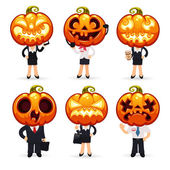 Businessmen With Pumpkins on a Heads — Stock Vector
